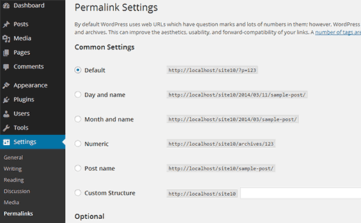 Permalinks Settings Screen