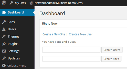 Multisite Network Admin Dashboard in WordPress