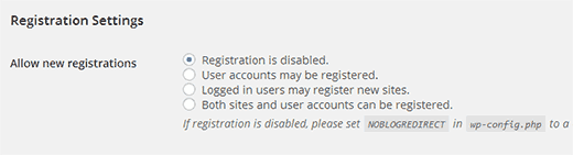Registration settings on a WordPress Multisite Network