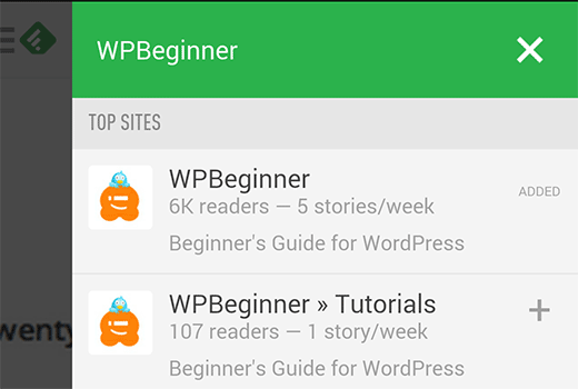 Subscribing to WPBeginner using Feedly on Android
