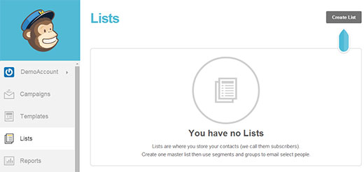 Creating a new list for your blog's email subscribers in MailChimp