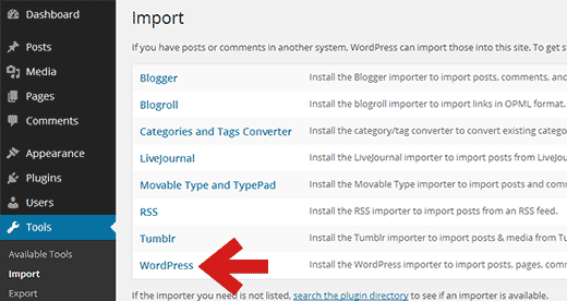 Click on WordPress to install WordPress importer