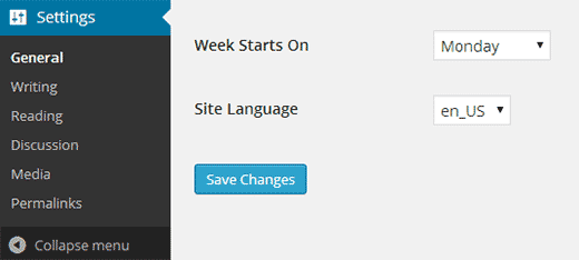 Chosing language in WordPress settings