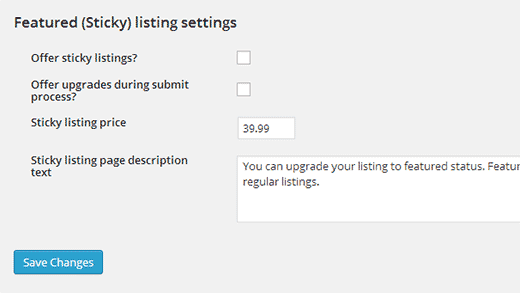 Unchecking featured or sticky listings