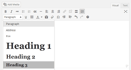 Changing font size in WordPress visual editor