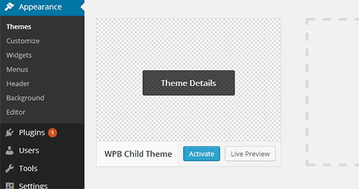 Activating your WordPress child theme