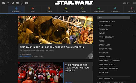 The Official Star Wars Blog 40+ Notable WordPress Websites - starwarsblog
