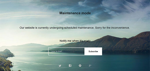A WordPress maintenance mode page created with WP Maintenance Mode