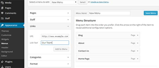 Adding a link to staff menu archive page