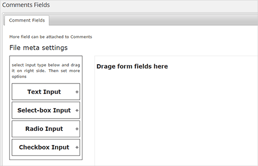 Drag and drop input fields to the form