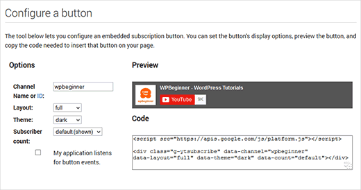 Generating YouTube subscribe button code