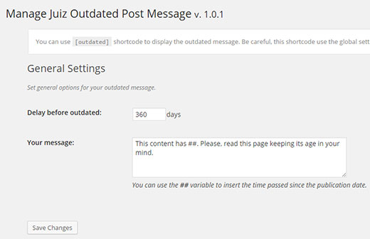 Outdated post message settings