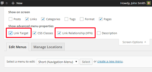 Adding link relationship and target options to menu items  - screen options rel target - Add Nofollow Links in WordPress Navigation Menus