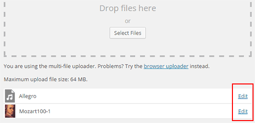 Uploading media files and getting the file URL