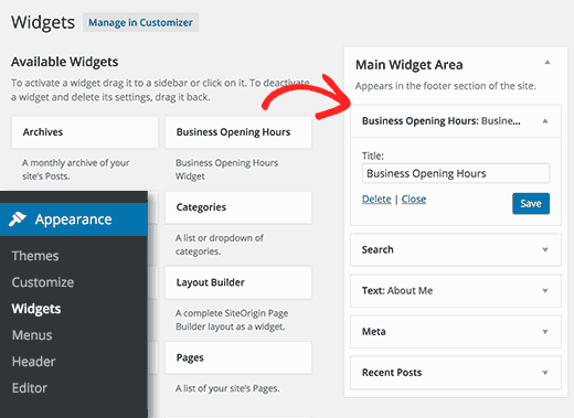 Adding opening hours widget in WordPress