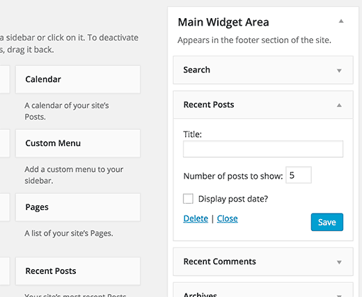 Using the default WordPress recent posts widget