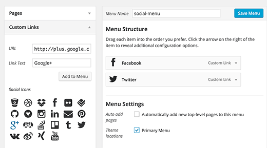 Adding social media icons to a WordPress menu