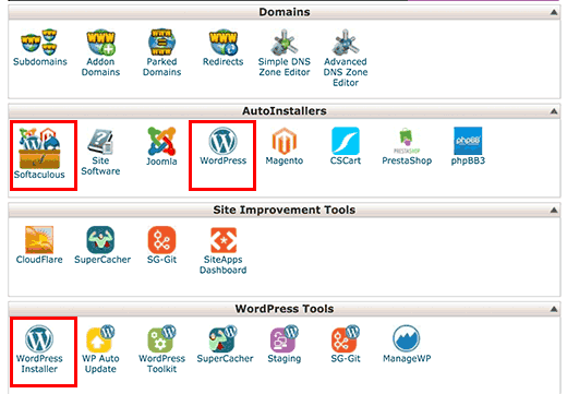 Softaculous icon under auto installers section in cPanel