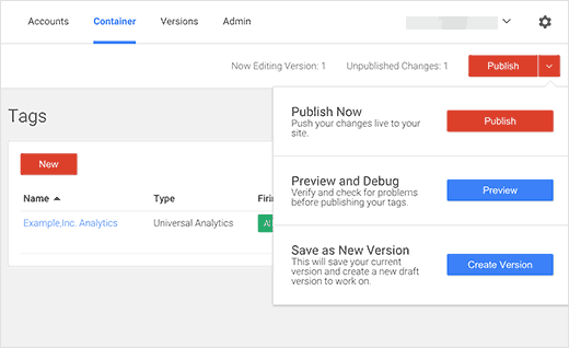 Publish your changes in Google Tag Manager