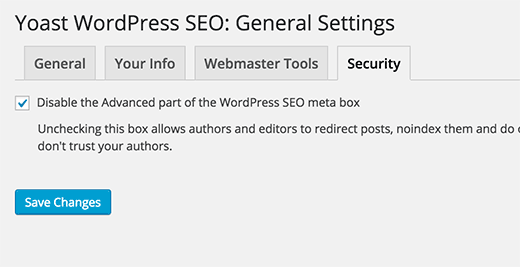 Disable advanced meta box in SEO settings for security purposes