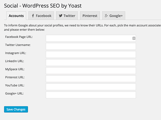 Adding social accounts in WordPress SEO