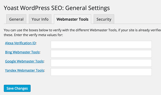 Yoast WordPress SEO plugin - Webmaster Tools