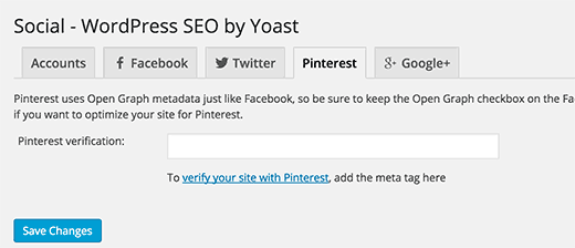 Yoast WordPress SEO plugin - Social settings for Pinterest