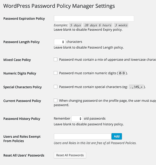 WordPress Password Policy Manager settings page