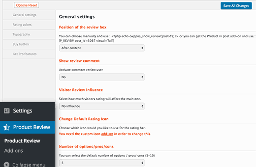 WP Product Review settings page