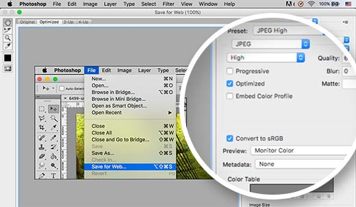 Converting colors to RGB and saving for web in Adobe Photoshop