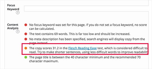 Yoast SEO showing readability score