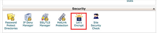 Let's Encrypt icon in cPanel