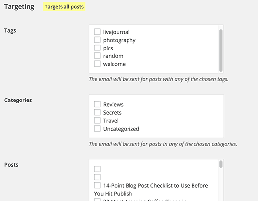 Target specific posts, categories, or tags