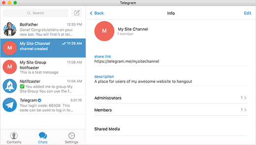 Is user admin of channel telegram