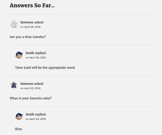 Questions and answers displayed below AMA form