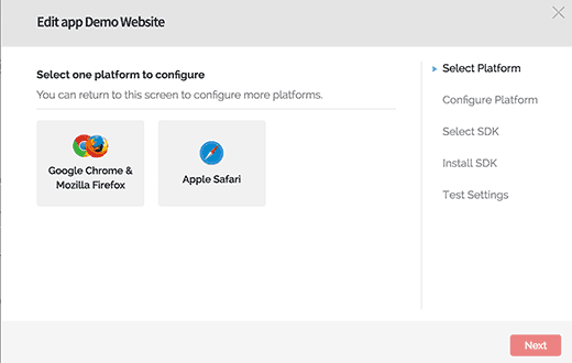 Select browser platform