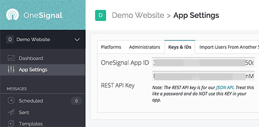 App ID and Rest API Key