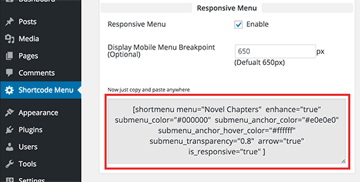 Copy the menu shortcode to use in a post or page in WordPress