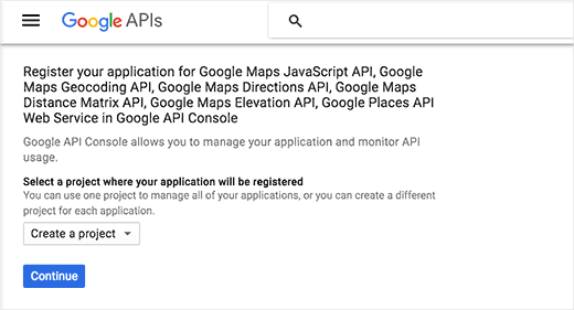 Create a new Google Maps API project