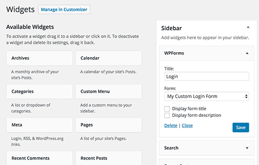 Add custom login form to a sidebar widget
