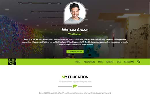 Wordpress Resume create a rsum website in wordpress youtube Emerald Cv Is A Beautiful Wordpress Resume Theme With Tons Of Styling And Customization Options It Comes With A Powerful Theme Customizer Google Fonts