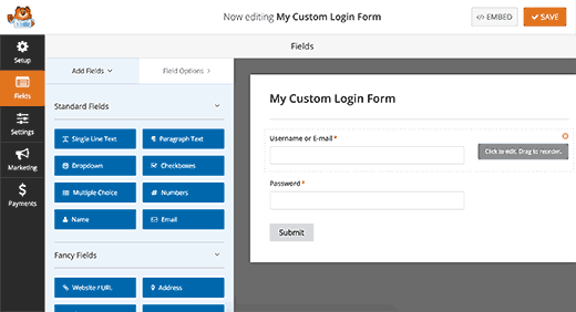 Editing your login form