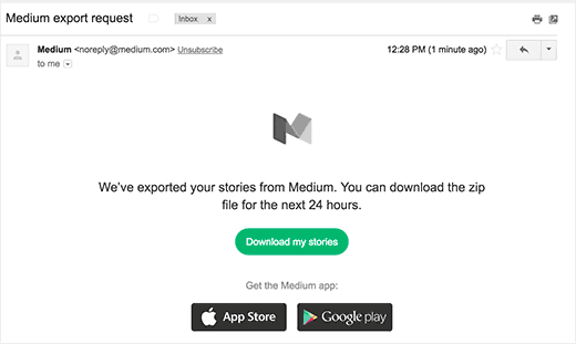 Email message with a link to download Medium export file