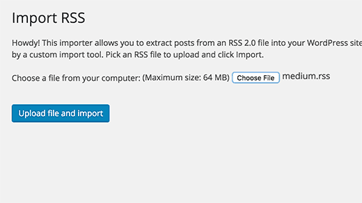 Upload Medium import file into WordPress importer