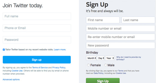 Twitter and Facebook Signup Forms