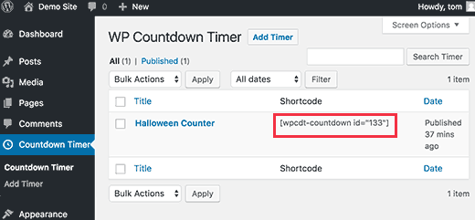 Copy countdown timer shortcode
