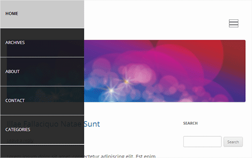 A slide panel navigation menu in WordPress