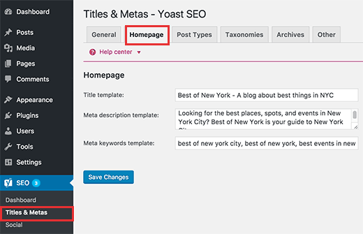 homepage keywords and description