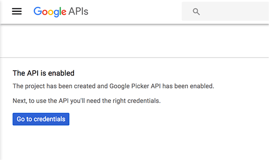 Picker API is enabled