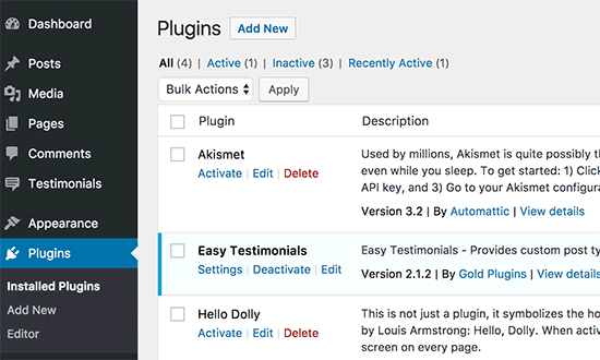 Plugins instalados de WordPress